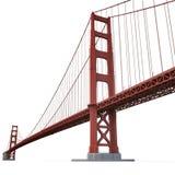 Golden gate bridge auf Weiß Abbildung 3D Lizenzfreies Stockbild