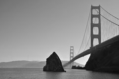 Golden Gate bridge(B&W). Black and White picture of Golden Gate Strait and a seemingly deserted Golden Gate Bridge royalty free stock image