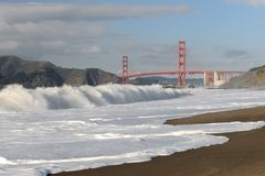 Golden Gate Bridge from Baker Beach Stock Photography