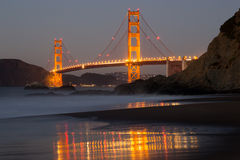 The Golden Gate Bridge and Baker Beach Reflections Stock Photo