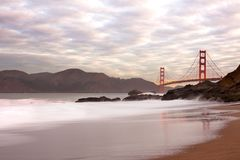 Golden Gate Bridge from Baker Beach in San Francisco Stock Images