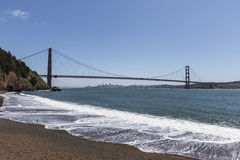 Golden Gate Bridge Beach San Francisco. Golden Gate Bridge beach with San Francisco bay and city in background Stock Photos