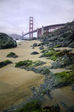 Golden gate bridge on beach royalty free stock photography