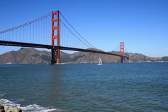 Golden Gate Bridge on a Beautiful Day. The Golden Gate Bridge on a beautiful day.  Located in San Francisco California Stock Images