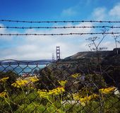 Golden Gate Bridge from behind fence Stock Photo