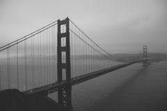 Golden gate bridge in bianco e nero, San Francisco California United States Fotografia Stock Libera da Diritti