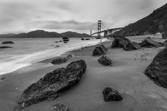 Golden Gate Bridge Black and White Royalty Free Stock Photo