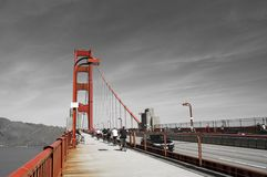 Golden gate bridge in black white and red, San Francisco, California, USA Royalty Free Stock Image