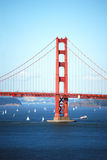 Golden Gate Bridge with boats Stock Images