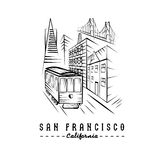 Golden gate bridge ,buildings and tram Royalty Free Stock Photo