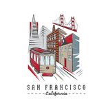 Golden gate bridge ,buildings and tram Royalty Free Stock Images