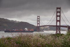 Cargo ship crossing the Golden Gate Bridge on a rainy day in springtime. Views seen from California Coastal Trail above Baker Beach. San Francisco, California Royalty Free Stock Images