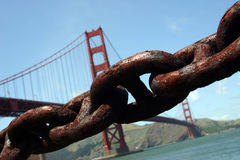 Golden Gate Bridge and Chain Royalty Free Stock Images