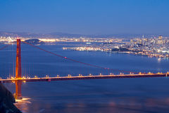 Golden Gate Bridge and City Lights Royalty Free Stock Photography