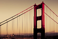 Golden gate bridge Closeup Royaltyfri Foto
