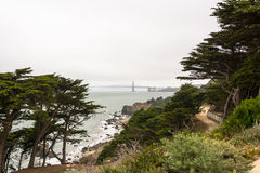 The Golden Gate Bridge in a cloudy day, San Francisco Royalty Free Stock Photography