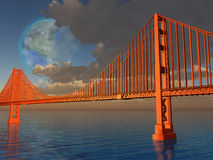 Golden gate bridge com luna terraformed Foto de Stock Royalty Free
