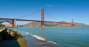 Golden Gate Bridge from Crissy Field panorama Stock Photography