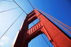 Golden gate bridge in detail Stock Foto's