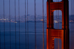 Golden Gate Bridge in Detail with San Francisco in the Background Royalty Free Stock Photography