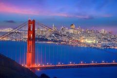 Golden Gate Bridge and downtown San Francisco. At twilight Stock Photo