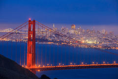 Golden Gate Bridge and downtown San Francisco. At twilight Stock Photo