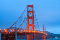 Golden Gate Bridge and downtown San Francisco. At twilight Stock Photos