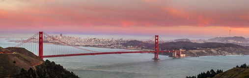 Golden Gate Bridge and downtown San Francisco. At twilight Royalty Free Stock Photo