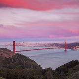 Golden Gate Bridge and downtown San Francisco. At twilight Stock Image