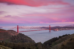 Golden Gate Bridge and downtown San Francisco. At twilight Royalty Free Stock Photography