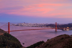 Golden Gate Bridge and downtown San Francisco. USA Stock Photos