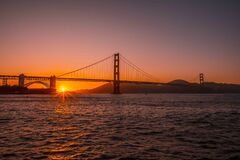 Free Golden Gate Bridge During A Sunset In San Francisco, USA Stock Photos - 181337263