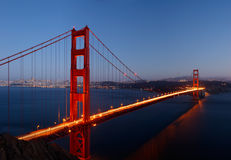 Golden Gate Bridge in the Dusk. High-resolution stitched image of Golden Gate Bridge glowing in the dusk Royalty Free Stock Image