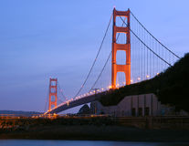 Golden Gate Bridge at dusk from Fort Baker, Sausalito. Royalty Free Stock Image