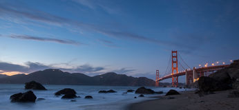 Golden-Gate Bridge at Dusk. Marshall's Beach, San Francisco Stock Photos