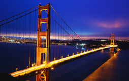 Golden Gate Bridge. At Dusk, San Francisco stock photo