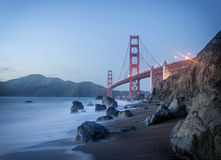Golden Gate Bridge at dusk. Golden Gate Bridge taken at Baker Beach in San Francisco. Long Exposure shot taken at dusk royalty free stock images