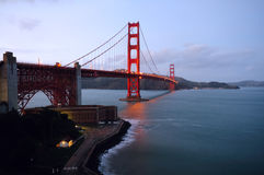 Golden Gate Bridge in the early dusk (landscape) Royalty Free Stock Photo