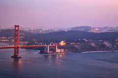 Golden Gate Bridge Early Evening Commute Royalty Free Stock Images