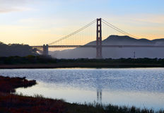 Golden gate bridge et les marécages chez Crissy Field Photo libre de droits