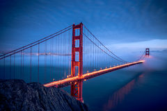 Golden Gate Bridge. Famous San Francisco landmark during night stock images