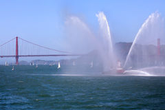 Golden Gate Bridge and Fireboat Guardian Royalty Free Stock Photo
