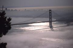 Golden Gate Bridge in fog 1 Royalty Free Stock Photos