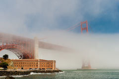 Golden Gate Bridge in the fog. Stock Images