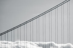 Golden Gate Bridge Fog. Abstract Detail Of Fog On The Golden Gate Bridge In San Francisco royalty free stock photos