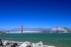 Golden Gate Bridge Fog, Crissy Field Stock Images