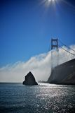 Golden gate bridge with the fog Stock Photos