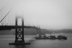 Golden Gate Bridge in the fog, San Francisco Royalty Free Stock Images