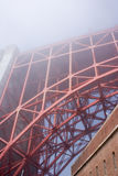 Golden Gate Bridge on a fogy day. View on Golden Gate bridge from beneath, California, USA royalty free stock image