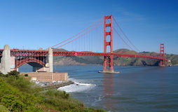 Golden Gate Bridge and Fort Po. Int on a fine spring morning shot from Fort Point viewpoint in San Francisco, California Royalty Free Stock Image